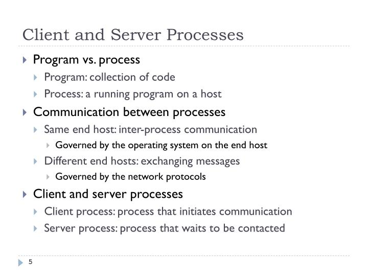 Client and Server Processes