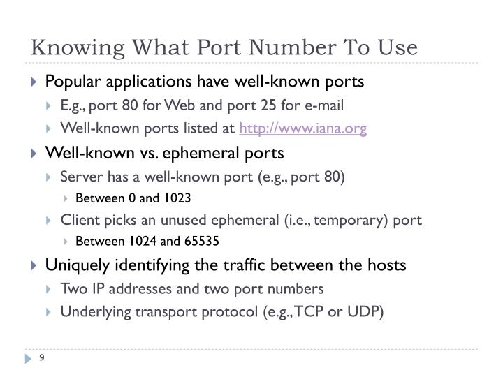 Knowing What Port Number To Use