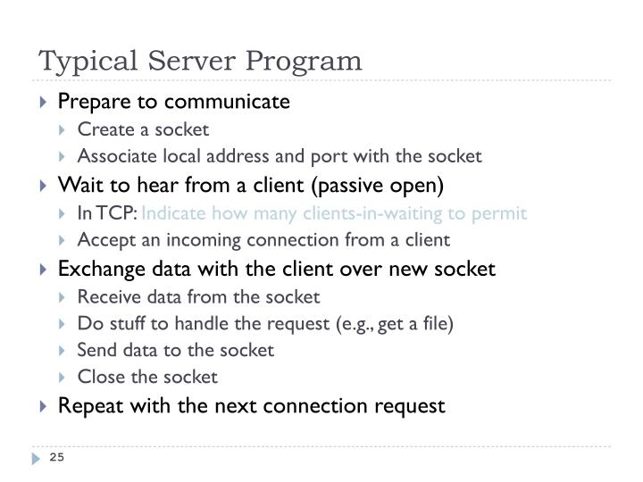 Typical Server Program