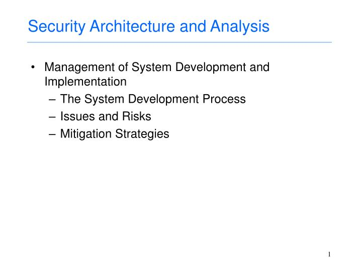 PPT - Security Architecture and Analysis PowerPoint