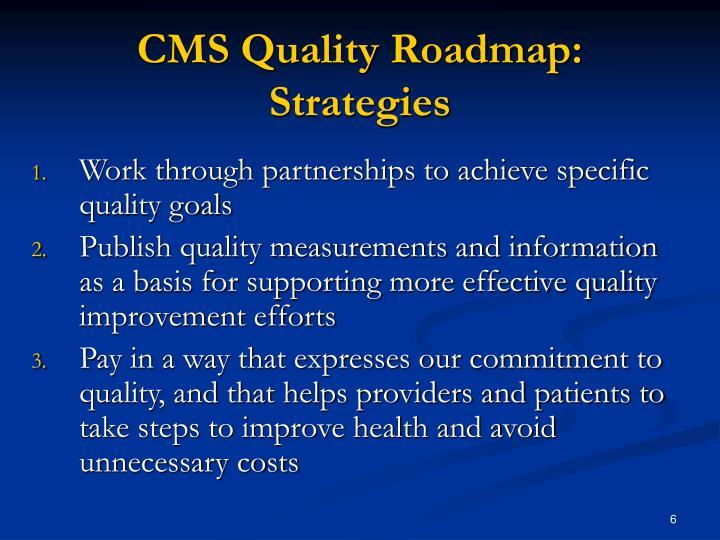 CMS Quality Roadmap: Strategies