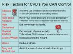 risk factors for cvd s you can control