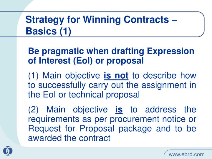 Strategy for winning contracts basics 1
