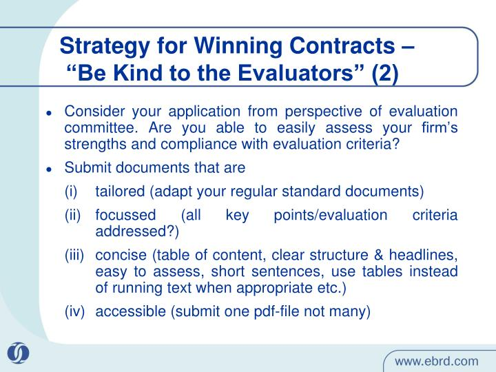 Strategy for Winning Contracts –