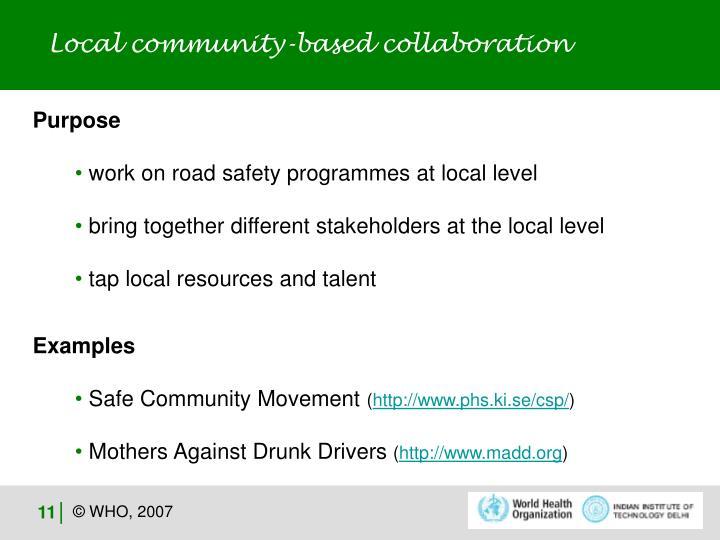Local community-based collaboration