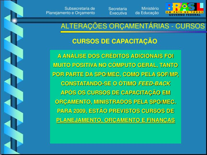 ALTERAÇÕES ORÇAMENTÁRIAS - CURSOS