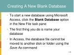 creating a new blank database