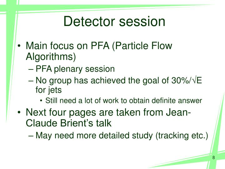 Detector session