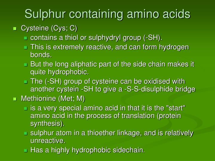 Sulphur containing amino acids