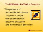 the personal factor in evaluation