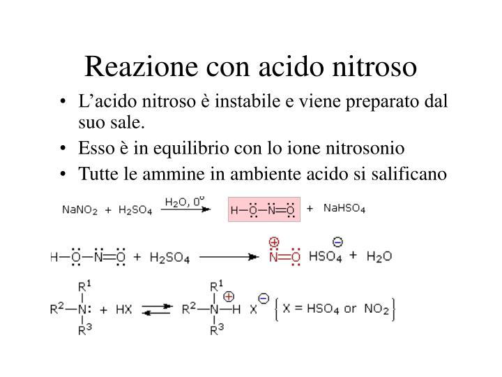 Reazione con acido nitroso