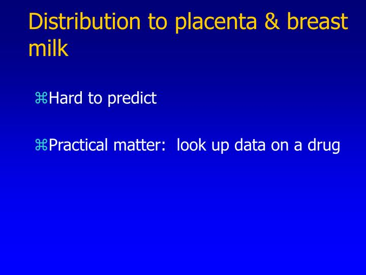 Distribution to placenta & breast milk