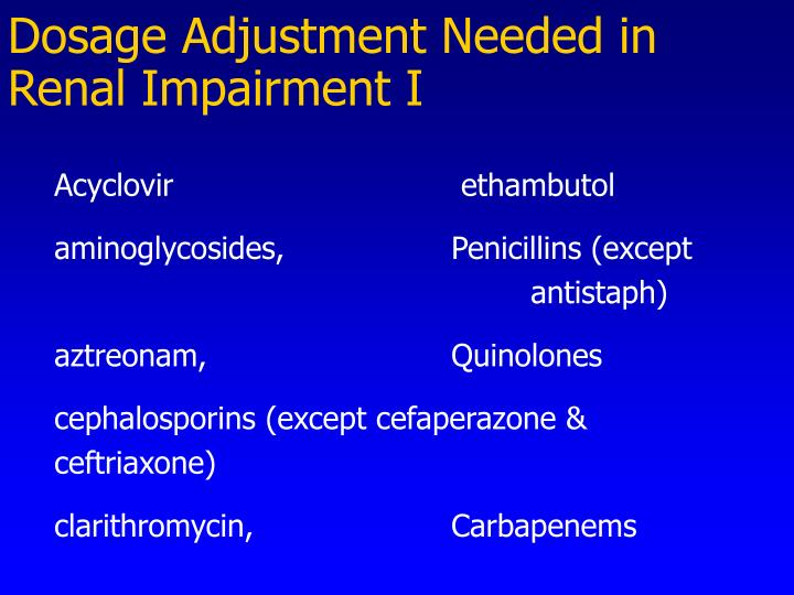 Dosage Adjustment Needed in Renal Impairment I