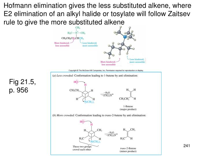 Hofmann elimination gives the less substituted alkene, where