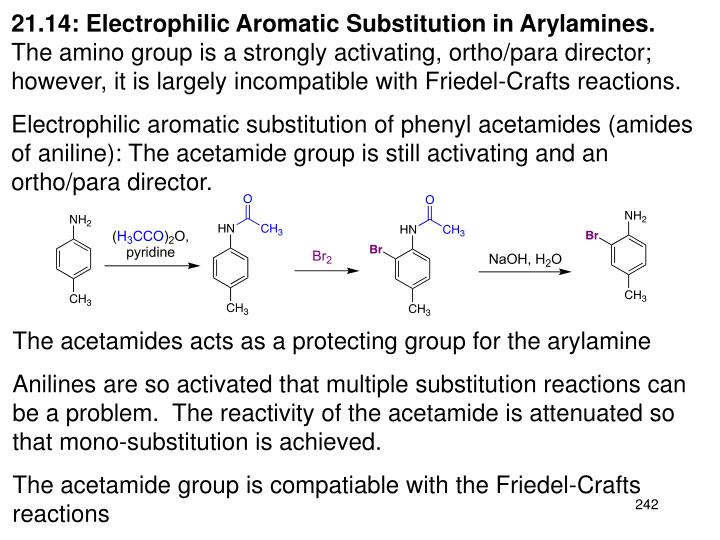 21.14: Electrophilic Aromatic Substitution in Arylamines.