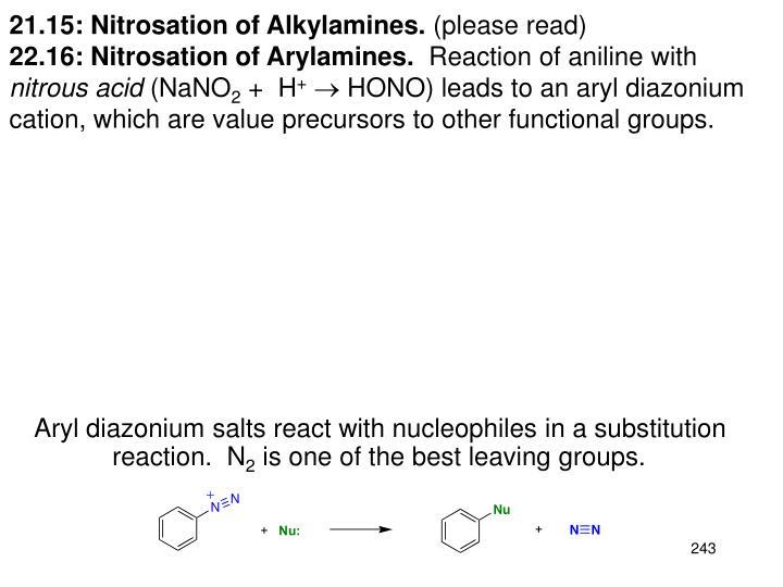 21.15: Nitrosation of Alkylamines.