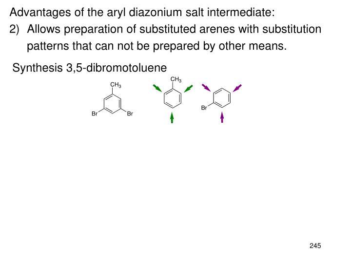Advantages of the aryl diazonium salt intermediate: