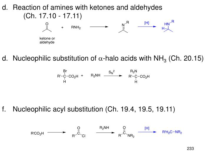 Reaction of amines with ketones and aldehydes