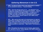 gathering momentum in the u s