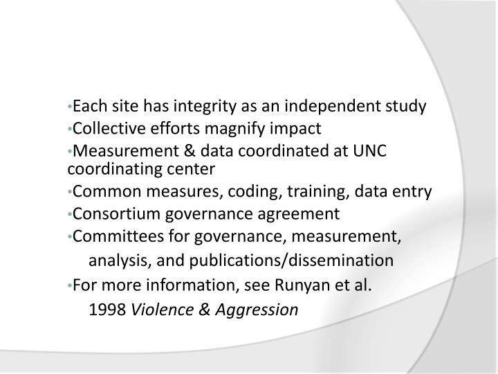 Each site has integrity as an independent study