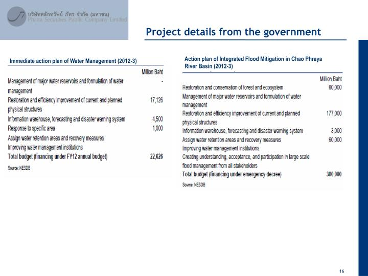 Project details from the government