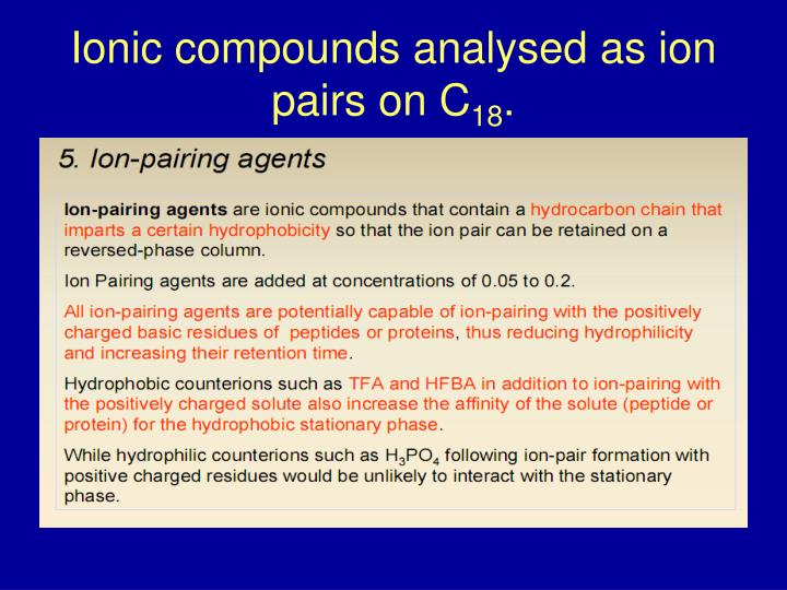 Ionic compounds analysed as ion pairs on C