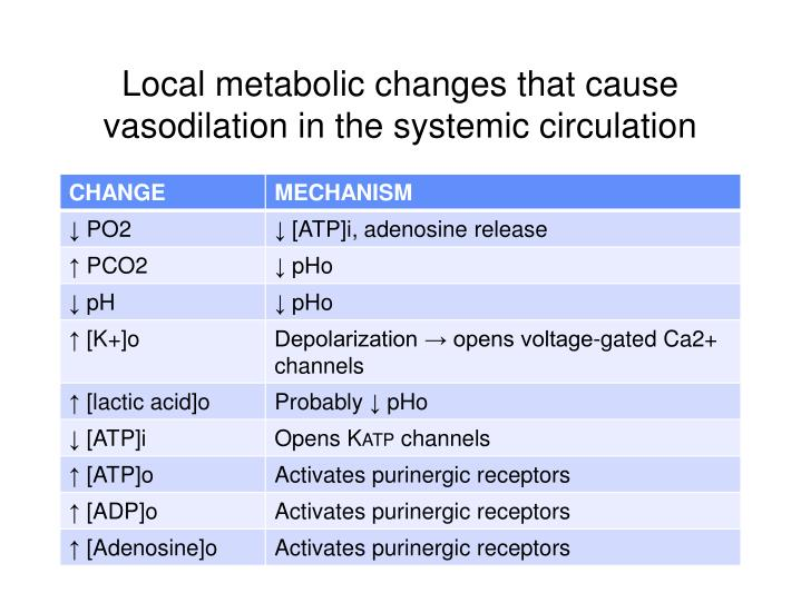 Local metabolic changes that cause vasodilation in the systemic circulation