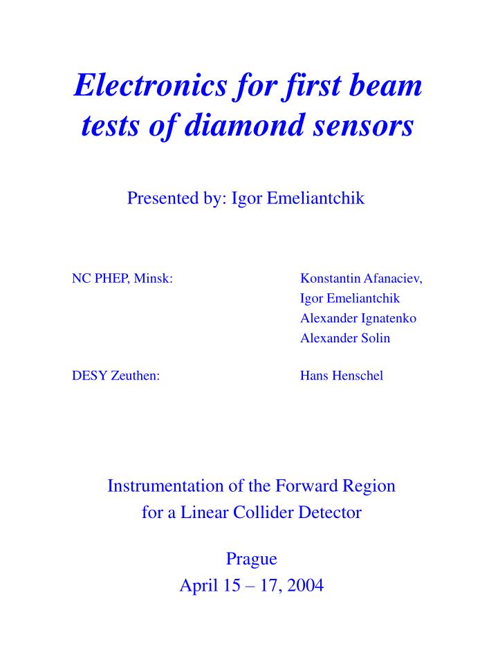 electronics for first beam tests of diamond sensors n.
