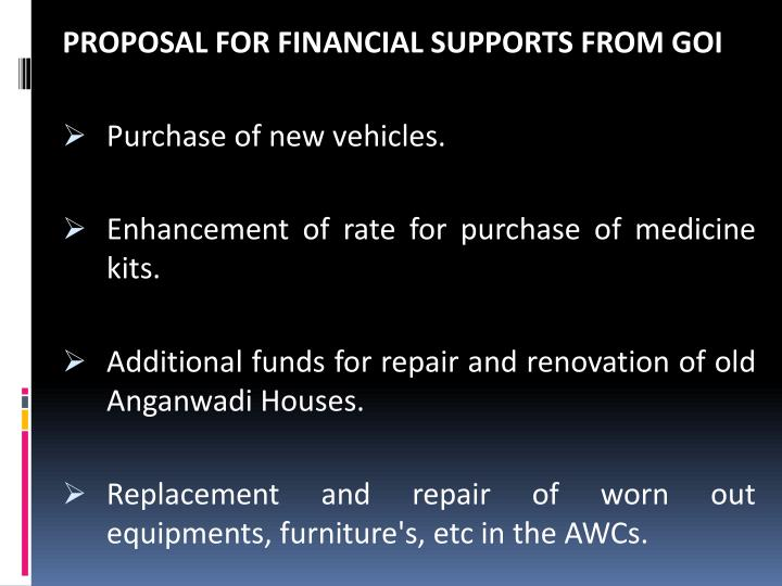 PROPOSAL FOR FINANCIAL SUPPORTS FROM GOI
