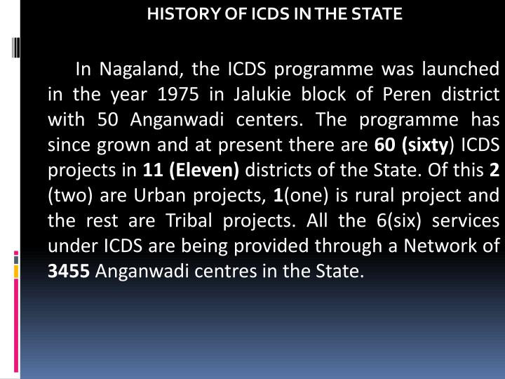 HISTORY OF ICDS IN THE STATE