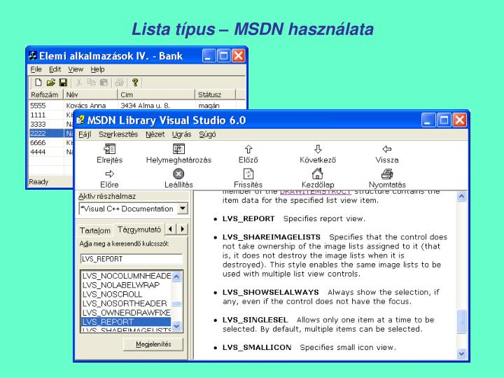 Lista típus – MSDN használata