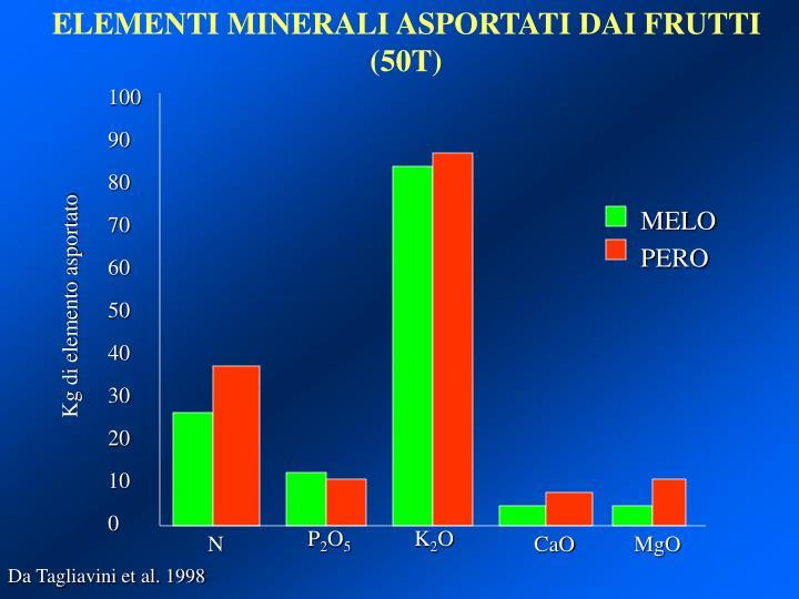 ELEMENTI MINERALI ASPORTATI DAI FRUTTI (50T)