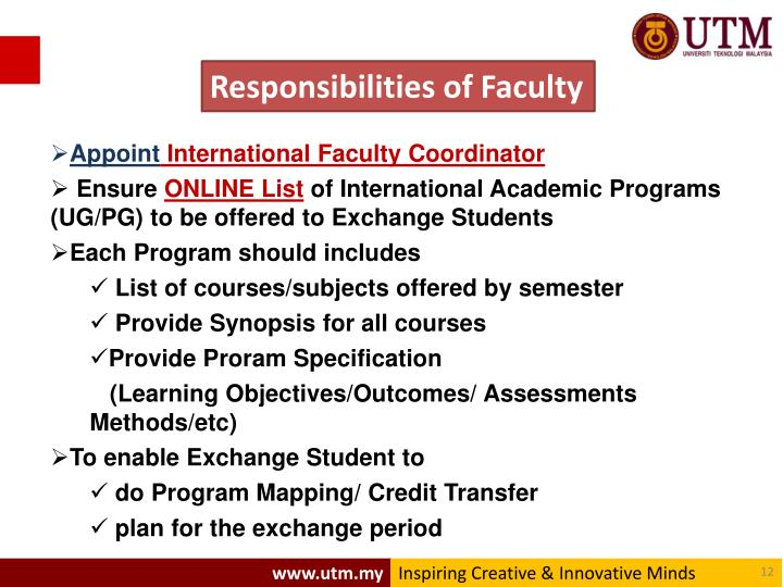 Responsibilities of Faculty