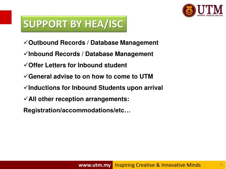SUPPORT BY HEA/ISC