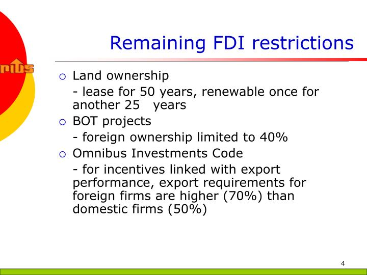 Remaining FDI restrictions