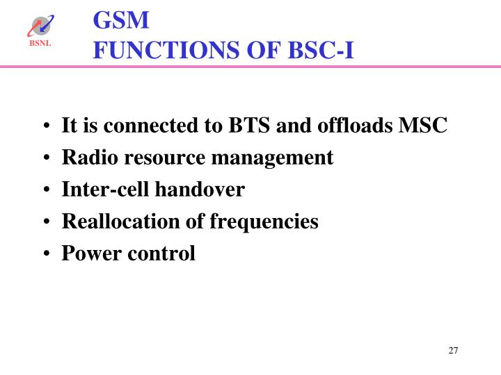 It is connected to BTS and offloads MSC