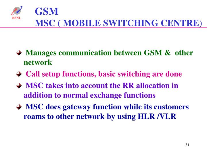 Manages communication between GSM &  other network
