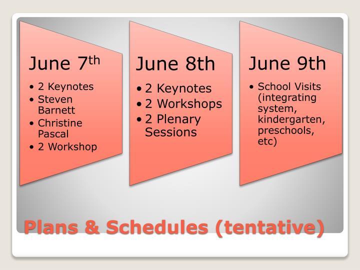 Plans & Schedules (tentative)