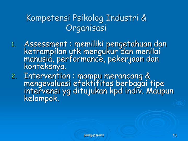 Kompetensi Psikolog Industri & Organisasi