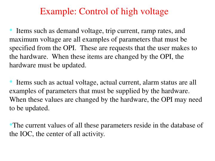 Example: Control of high voltage