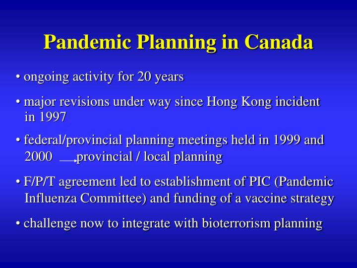 Pandemic Planning in Canada