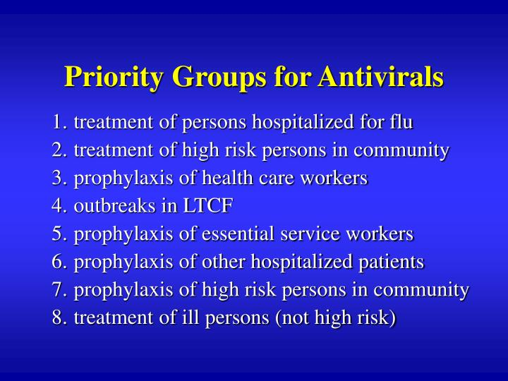Priority Groups for Antivirals