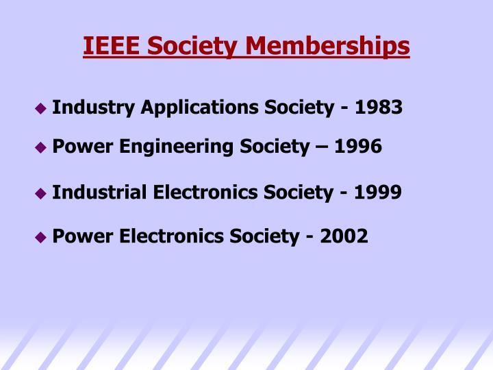 IEEE Society Memberships