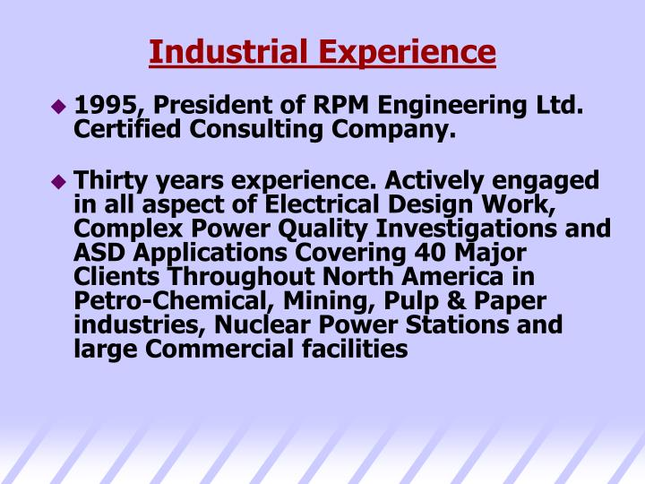 Industrial Experience