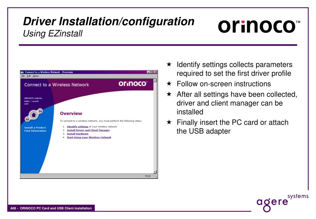 PPT - ORiNOCO PC Card and USB Client Installation PowerPoint