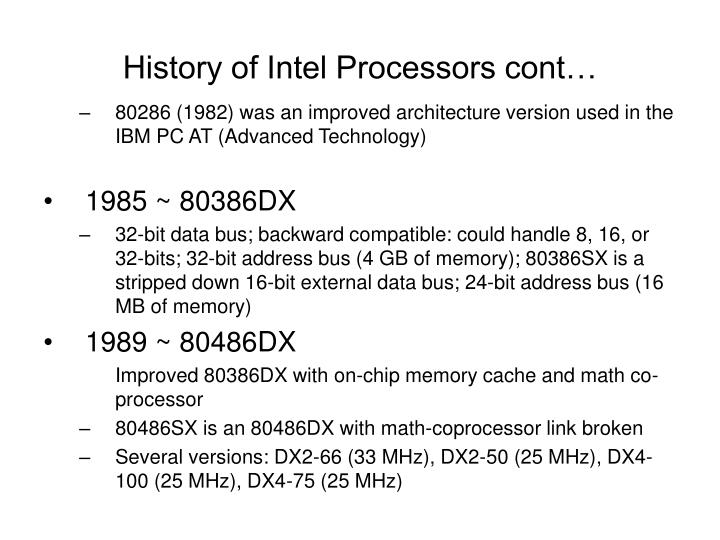 History of intel processors cont