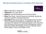 world creativity forum creative arts biennial