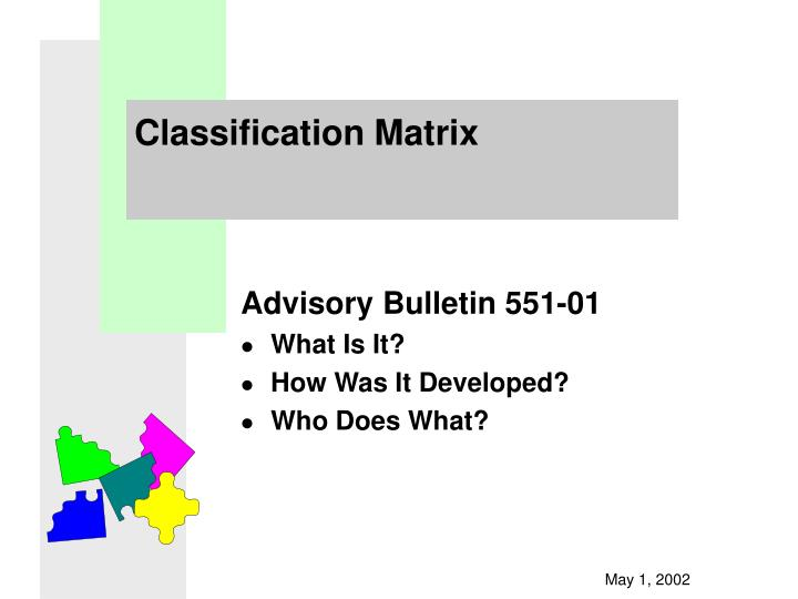 Classification Matrix