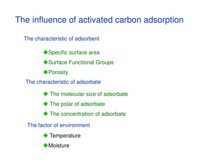 The influence of activated carbon adsorption