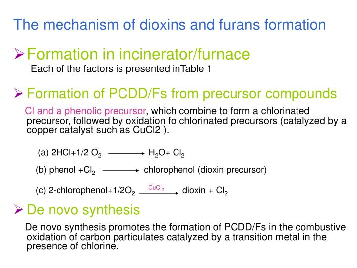 The mechanism of dioxins and furans formation